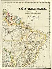 RARE: Genuine 167 anos mapa antigo BRASIL território dos nativos americanos 1850