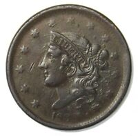 1838 Coronet Head Large Cent 1¢ Very Good+