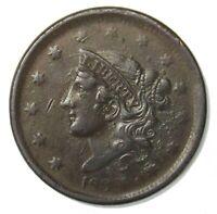 1838 Coronet Head Large Cent 1¢ Very Good+