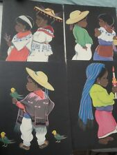 4 Large Betanzos Art Prints Mexican Children Size 12 X 16 Spanish Folk Art