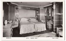 Cunard White Star R.M.S.Queen Mary 1st Class Bedroom RP PPC, Unposted, Glamour