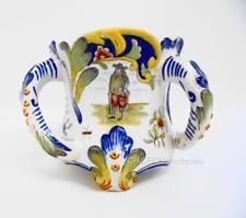 Gabriel Fourmaintraux Original Desvres Fayence d'Art  Tri Handle Vase 1863-1900