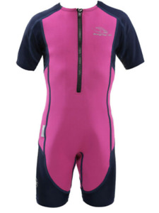AQUA SPHERE STINGRAY  KIDS LP SHORTY SWIMSUIT,PINK/BLUE,SIZE 8Y, NEW WITH TAG