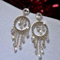 18k yellow gold gf made with Swarovski crystal stud dangle tassel chain earrings