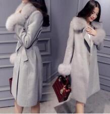 Women Faux Fur Collar Wool Blend Long Coat Jacket Winter Belt Slim Fit Outwear@@