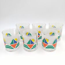 Set of 6 Vintage Stotter Acrylic Glasses w/Stylized Sail Boat in Water Design