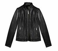 Michael Kors Women's Black Leather Jacket ZIPPER