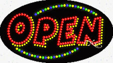 "Brand New ""Open"" 27x15x1 Oval Solid/Animated Led Sign w/Custom Options 24020"