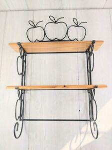 "Vintage wrought iron & wood apple wall hanging shelf 21.5""Hx15.5""W"