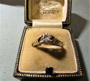 HALLMARKED 9CT GOLD & DIAMOND ILLUSION SET 0.05CT RING BY SJ SIZE M 1/2 1.58grm