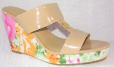 New IMAN Global Chic Floral and Patent Wedge Beige Multi Color Sandals 9 M