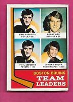 1974-75 OPC  # 28 BRUINS ESPOSITO + ORR  LEADERS EX-MT CARD (INV# C0352)
