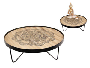 Set/2 Round Mandala Print Side Coffee Tables with Legs Home Decoration 35 cm Dia