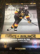 Golden Knights vs Avalanche Inaugural Season Game Poster (3/26/18) Tomas Tatar