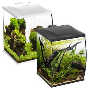 Betta Curve 35L Aquarium Fish Tank White Black LED Light & Internal Filter