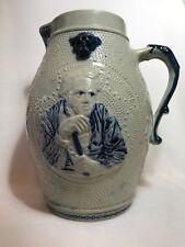 Antique Whites Utica Blue Salt Glaze Stoneware Pitcher/Jug Northwind Face-Prosit