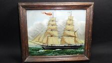 Vintage Sailboat Rosaliena Painting on revers glass In beautiful Oak Frame