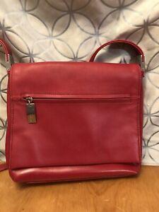 Liz Claiborne Red Leather/PVC Crossbody Purse
