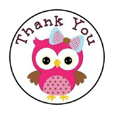 "48 Thank You Owl Pink!!  ENVELOPE SEALS LABELS STICKERS 1.2"" ROUND"