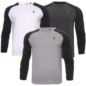 Mens Long Sleeve T-Shirt 100% Cotton Crew Neck Tee Top Base Layer Brave Soul