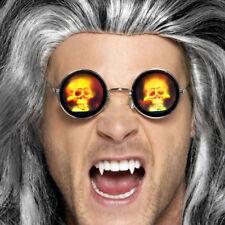 Holographic Skull Glasses Halloween Round Lenses Silver Framed Smiffys 45579