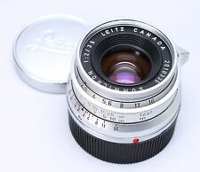 LEICA LEITZ SUMMICRON 35MM F/2 M2 LENS 8 ELEMENT CHROME -- EX+ W/ CAPS