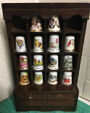 Set Of 14 Miniature Thimbles With Wooden Display Case