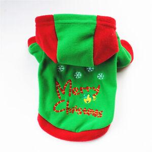 Christmas Cute Pet Hoodie Dog Fleece Sweater Puppy Cat Xmas Winter Warm Clothing