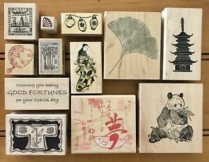 Lot Of 12 Asian Themed Wood Mount Rubber Stamps