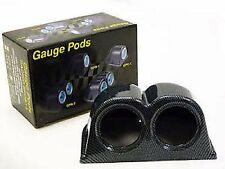 "Double Gauge Holder Pod ,52 mm,Carbon Fibre Effect  2 2"" Dash Mounted Gauges New"