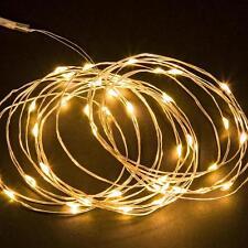 LUCI NATALE 120 MICRO LED MICROLED BIANCO CALDO FILO METALLO BATTERIA ESTERNO 12