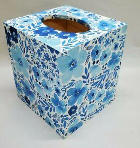 Handmade Decoupage Wood Tissue Box Cover, White & Blue Floral