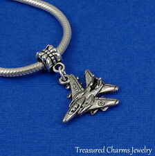 Silver USA FIGHTER JET Dangle Bead CHARM Military Plane fits EUROPEAN Bracelet