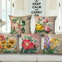 "18"" Cotton Linen Home Car Bed Sofa Throw Pillow Case Flower Square Cushion Cover"