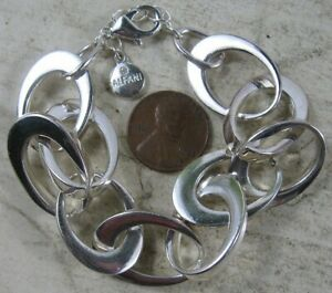 Vintage Silvertone Bracelet Large Link Chain Alfani