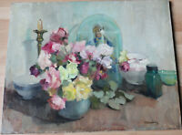 Grand tableau ancien HST Bouquet de roses Marthe BOELENS (1905-?) Ecole belge