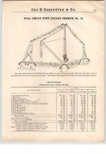 1900's PAPER AD Stiff Leg Legged Derrick Full Circle Hand Power Crank