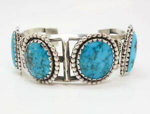 Vintage 1950s/60s Sterling Silver Turquoise Native American Cuff Bracelet