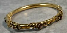 1920's Antique 14K Yellow Gold Ruby Floral Cuff Bracelet Bangle