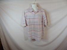 Men's SOUTHPOLE Pink Blue Striped Short Sleeve Dress Shirt - Sz XL