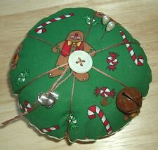 Handmade Gingerbread Christmas Pin Cushion Mother Of Pearl Sterling Charm