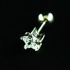 Ohr Tragus Piercing mit Stern Kristall Klar eingefasst in Stahl komplett