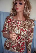 NEW XS SONOMA T Tee Shirt Pullover 3/4 Slv BROWN CREAM WINE PRINT TOP Cotton