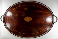 Sterling Silver-Mounted Inlaid Wood Gallery Tray