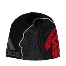 Chicago Blackhawks NHL Adidas Men's Team Black Jacquard Tonal Beanie