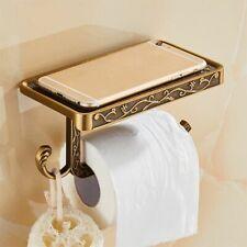 Antique Toilet Paper Holder Carved Zinc Alloy With Mobile Phone Shelf Bathroom