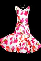 Cotton sun dress size 12 pink white floral midi Cotton flared flippy lined VGC
