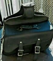 Slightly Use Heavy Black Leather Motorcycle Saddle Bags Attached in the Center