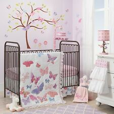 Lambs Ivy Butterfly Garden Happi Dena 6 PC Baby Crib Bedding Set w Bumper Mobile