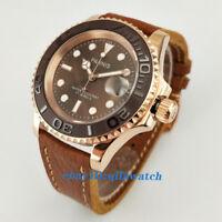 41mm Parnis Sapphire Glass Brown Dial Ceramic Bezel Automatic wrist Watch 2487